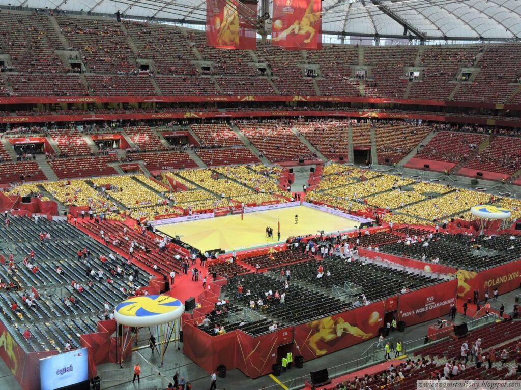 boisko podczas siatkarskich mistrzostw świata nastadionie narodowym wWarszawie