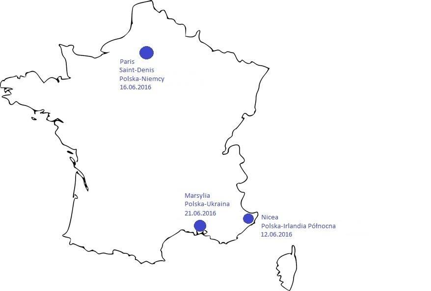 mapa polskich stadionów naEURO 2016