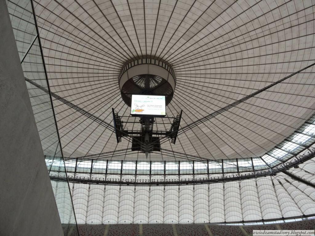 telebimy pod rozkładanym dachem na stadionie narodowym w Warszawie