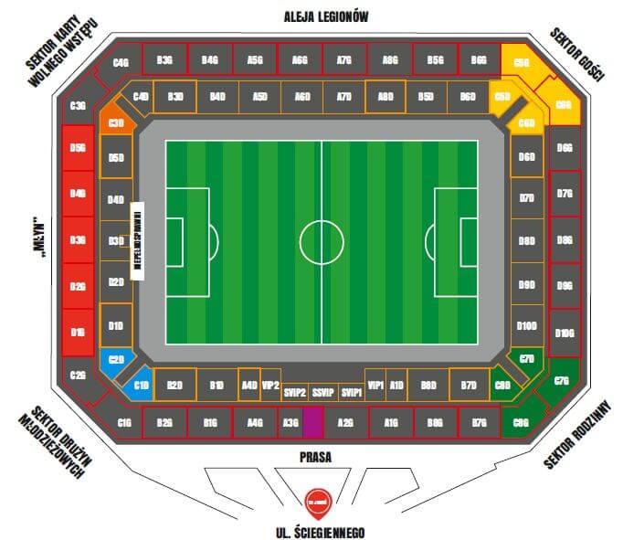 mapa stadionu isektorów naSuzuki Arenie