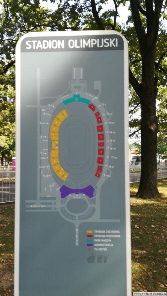 mapa stadionu w parku AWF