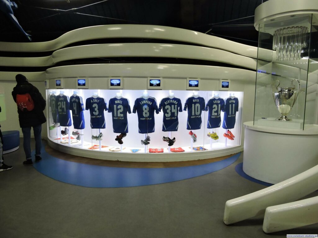olekcja koszulek wmuzeum klubowym Chelsea Londyn