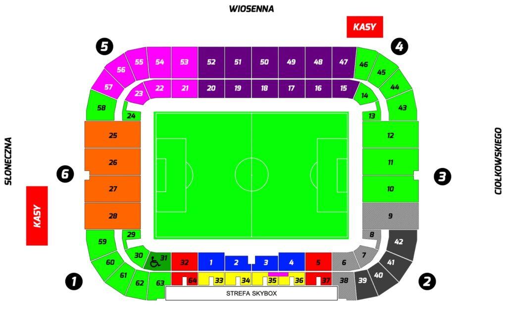 mapa stadionu isektorów wBiałymstoku
