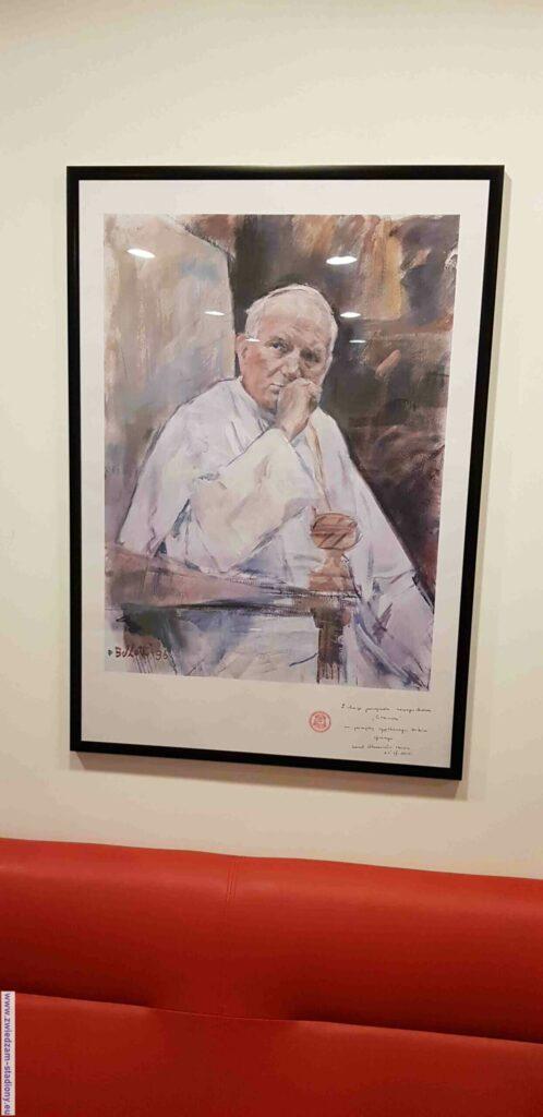 portret Jana Pawła II wloży VIP Cracovii Kraków
