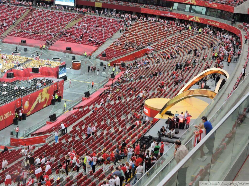 widok natrybunę VIP nastadionie narodowym wWarszawie