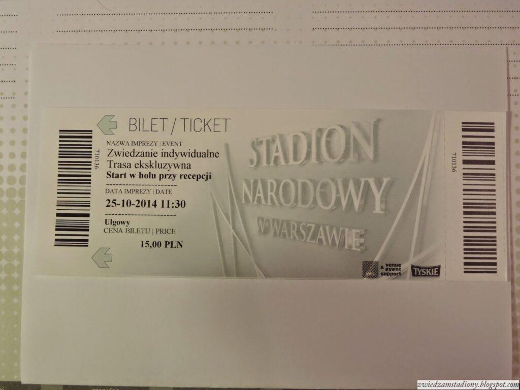 bilet z wycieczki po stadionie narodowym w Warszawie