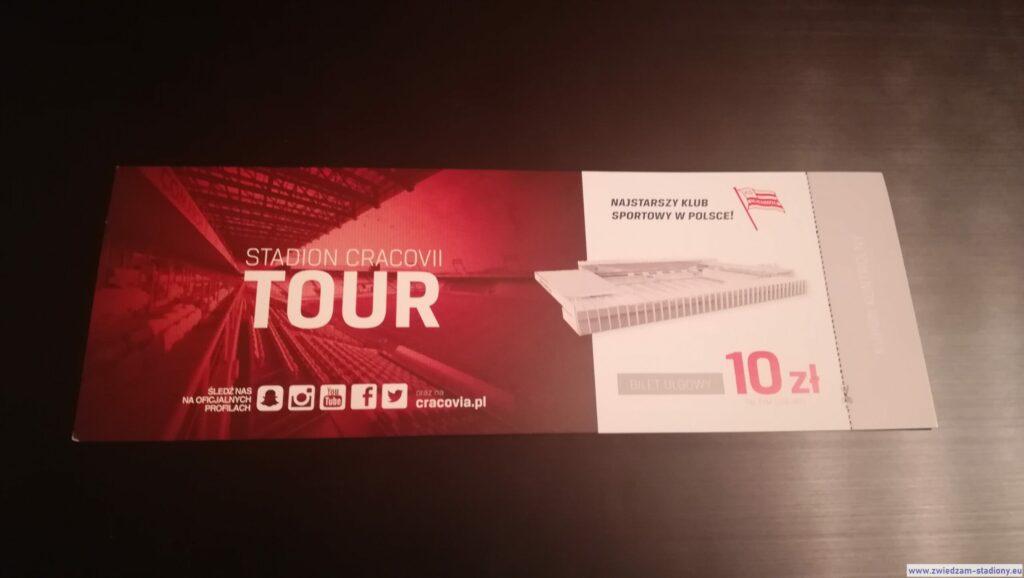 bilet pamiątkowy zwycieczki postadionie Cracovii