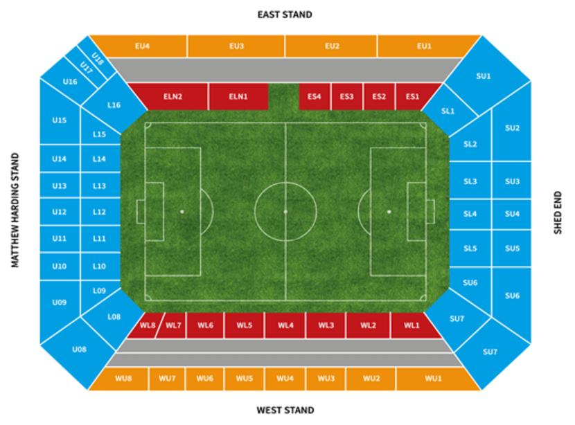 23 mapa stadionu isektorów Chelsea Londyn
