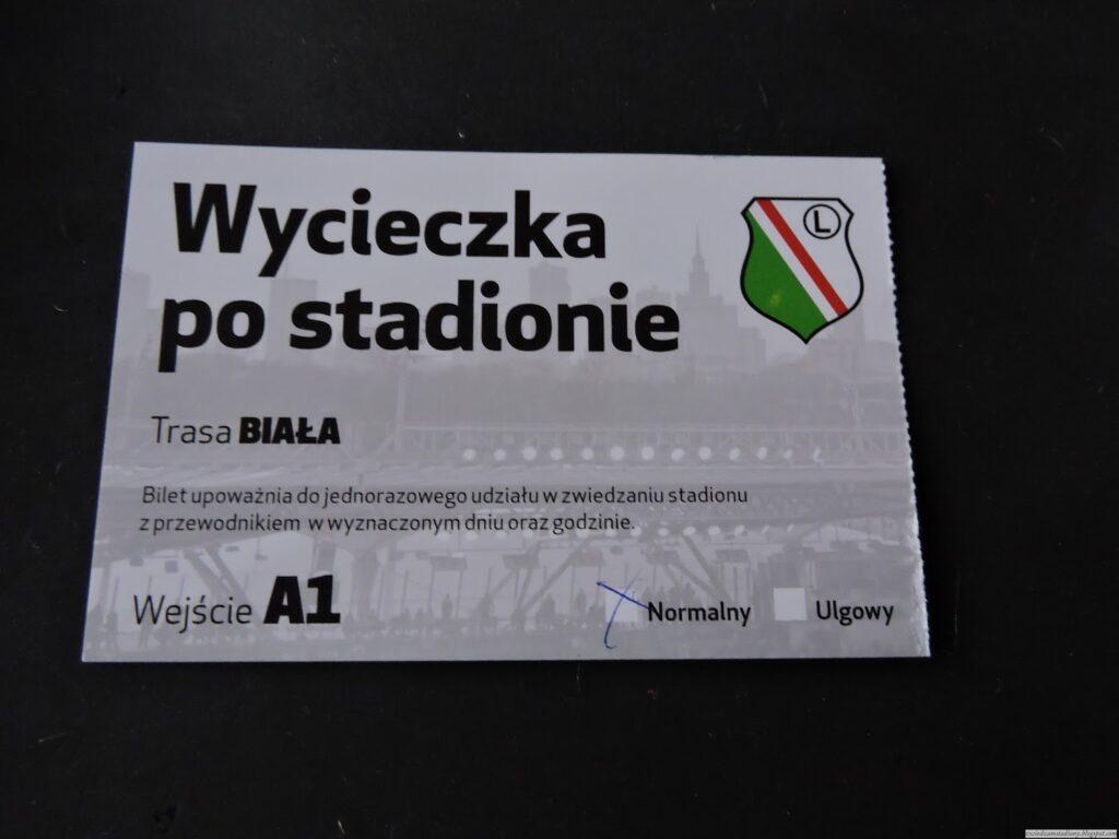 pamiątkowy bilet z wycieczki po stadionie