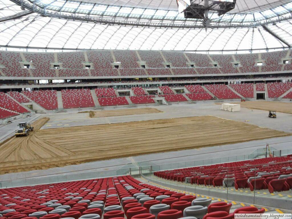 widok z sektora VIP na murawę stadionu narodowego w Warszawie