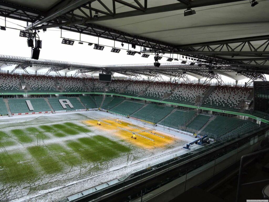 widok z loży prasowej na stadionie Legii Warszawa