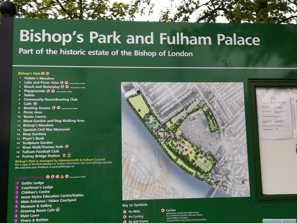 mapa parku i pałacu Fulham