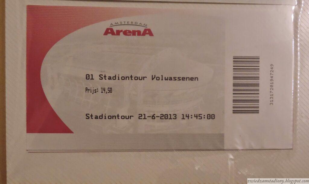 bilet zwycieczki postadionie wAmsterdamie