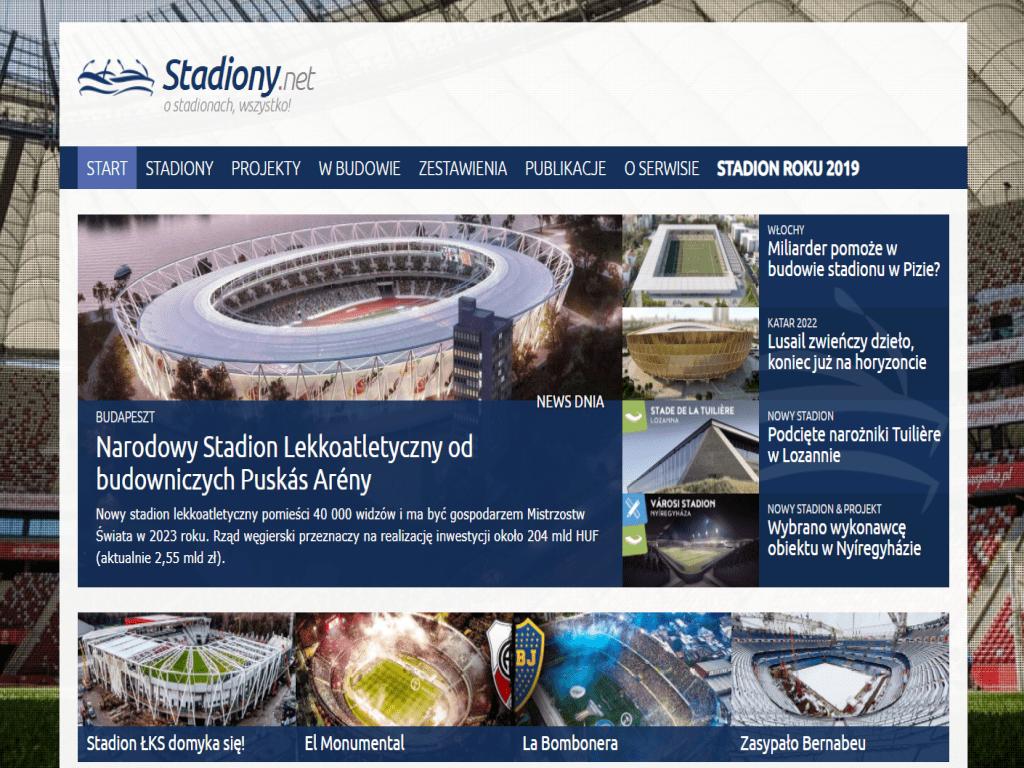 srceen strony głownej portalu stadiony.net_