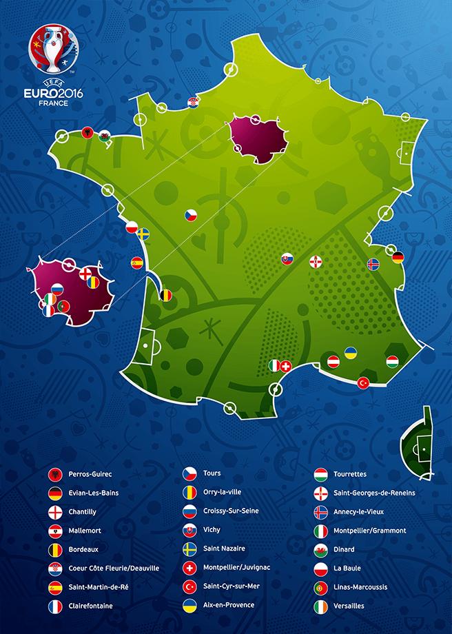 zakwaterowanie drużyn na EURO 2016