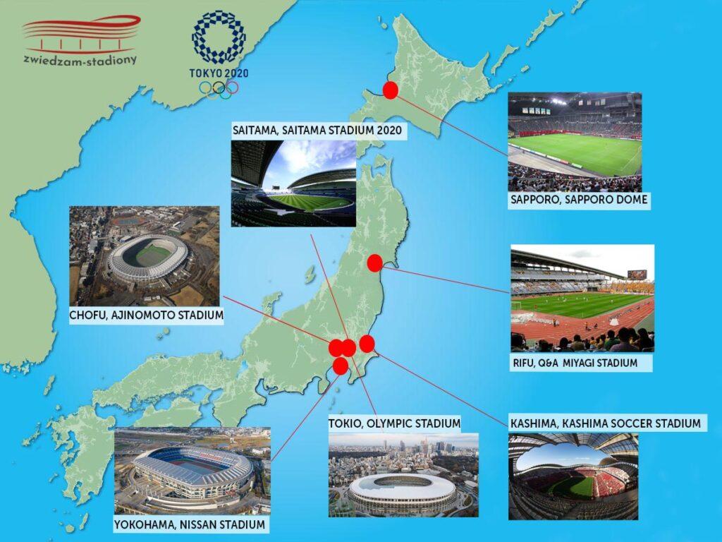 mapa stadionów tokio 2020